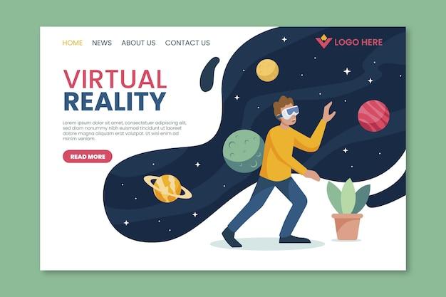 Conceito de espaço da página de destino de realidade virtual