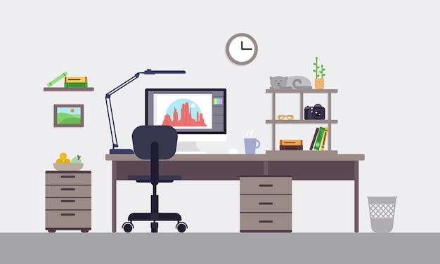 Conceito de espaço de trabalho de designer colorido