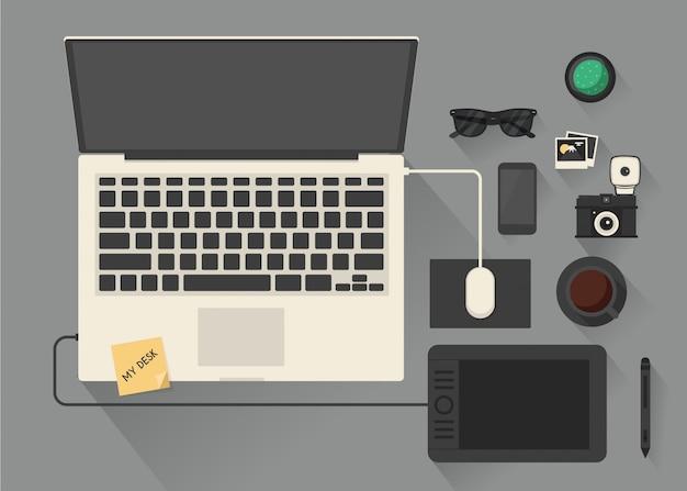 Conceito de espaço de trabalho de mesa computador vista superior.