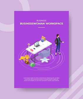 Conceito de espaço de trabalho de mulheres de negócios