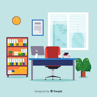 Conceito de espaço de trabalho plana com mesa e cadeira