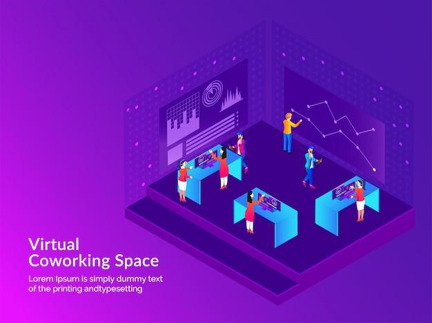 Conceito de espaço virtual co-working.