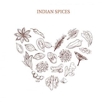 Conceito de especiarias indianas desenhadas à mão
