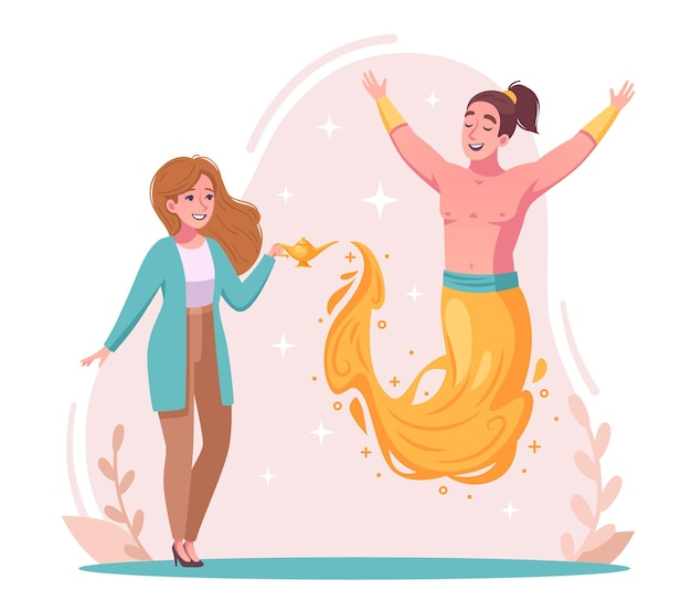 Conceito de espírito gênio com ilustração de desenhos animados de desejo e símbolos mágicos