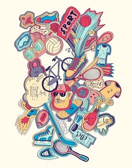 Conceito de esporte de rabiscos de mão desenhada. equipamentos esportivos.