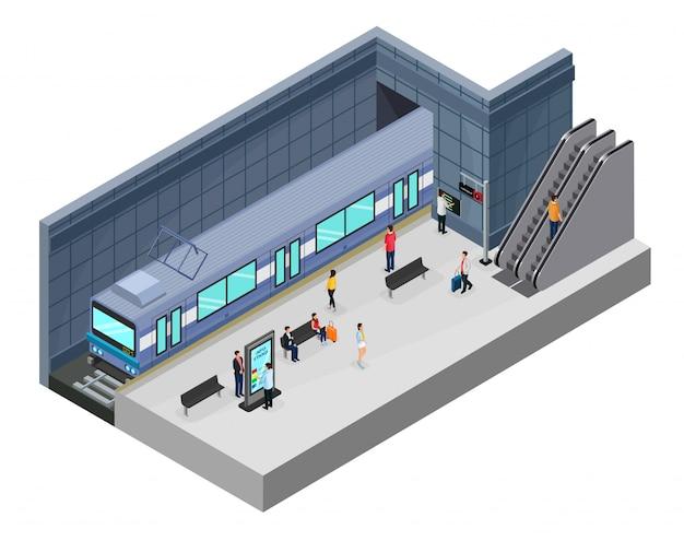 Conceito de estação de metrô isométrica