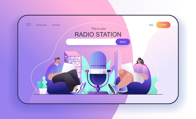 Conceito de estação de rádio para página de destino hospeda programas de rádio transmitidos ao vivo ou gravados