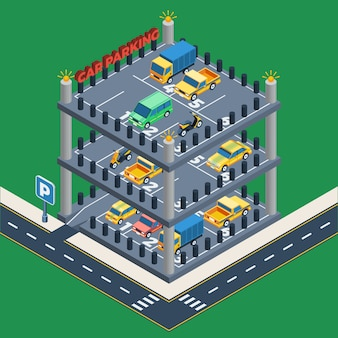 Conceito de estacionamento de carros
