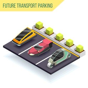 Conceito de estacionamento de transporte futuro