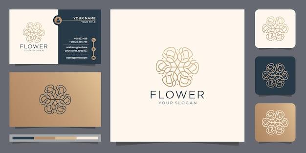 Conceito de estilo de design de logotipo de flor rosa de arte de linha de luxo slim com modelo de cartão de visita.