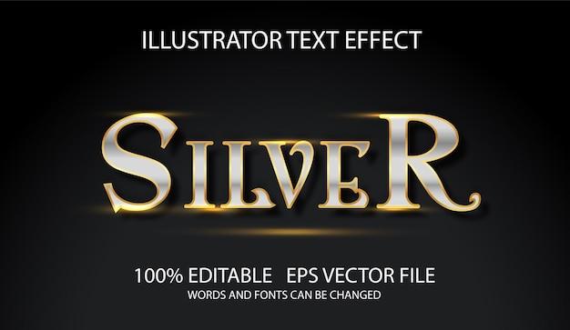 Conceito de estilo de palavra de prata de efeito de texto editável