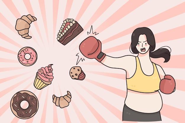 Conceito de estilo de vida saudável de dieta e perda de peso