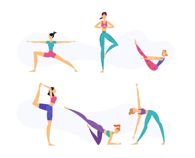 Conceito de estilo de vida saudável de ioga feminina com personagens femininos em várias poses de ioga