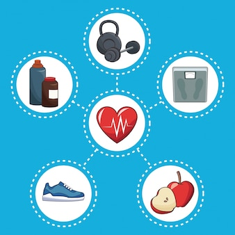 Conceito de estilo de vida saudável ícones de esporte