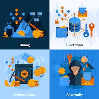Conceito de estilo plano de moeda virtual