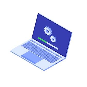 Conceito de estilo simples de atualização de sistema de laptop