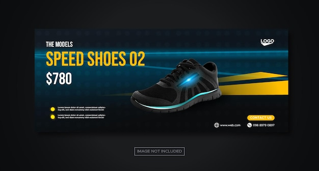 Conceito de estilo techno de tênis esportivos mídia social modelo de banner do facebook para promoção