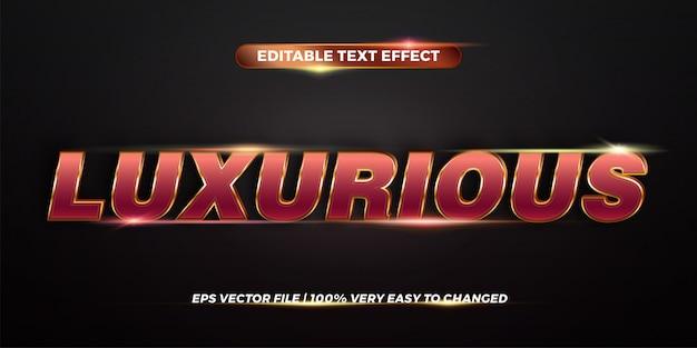 Conceito de estilos de efeito de texto editável - cor gradiente de ouro vermelho de palavras luxuosas