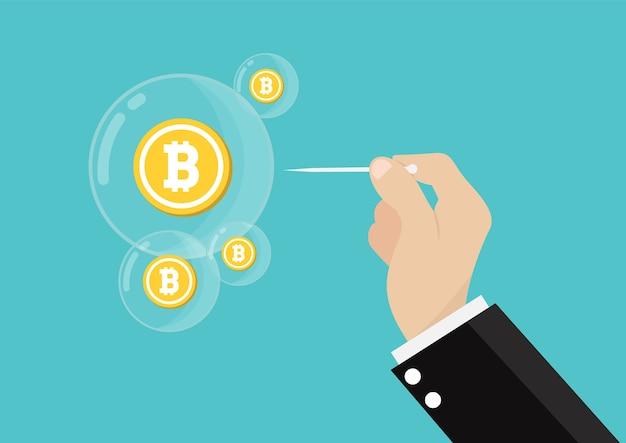 Conceito de estouro de bolha bitcoin.