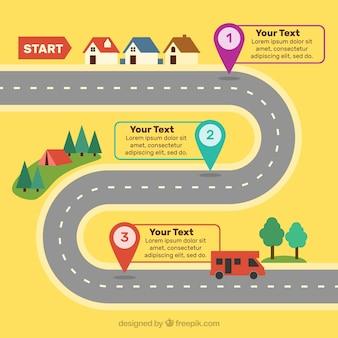 Conceito de estrada para cronograma infográfico