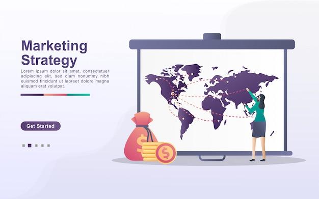 Conceito de estratégia de marketing. atenção, marketing digital, relações públicas, campanha publicitária, promoção de negócios. pode ser usado para página de destino da web, banner, aplicativo móvel.
