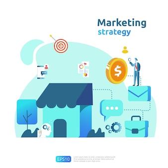 Conceito de estratégia de marketing de mídia social on-line móvel e afiliado. indicar um amigo publicidade estratégia de promoção de conteúdo banner ilustração vetorial.