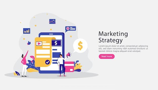 Conceito de estratégia de marketing digital afiliado. indique um amigo com o compartilhamento de personagens
