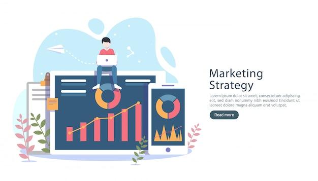 Conceito de estratégia de marketing digital com caráter de pessoas pequenas, tabela, gráfico na tela do computador