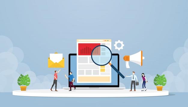 Conceito de estratégia de marketing digital online com pessoas e algumas análises de relatório de gráfico e gráfico
