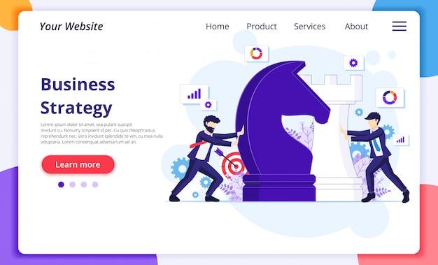 Conceito de estratégia de negócios com empresários movendo peças de xadrez gigante. modelo de página de destino do site