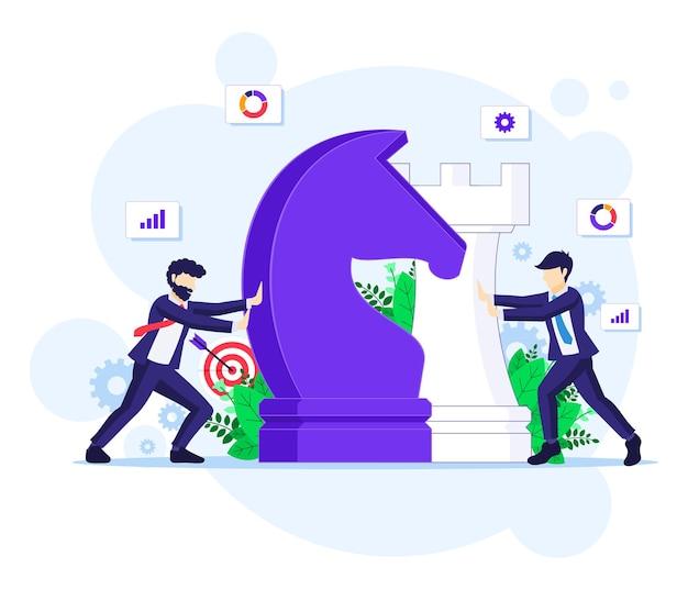 Conceito de estratégia de negócios com empresários movendo peças de xadrez gigantes, planejamento estratégico e táticas em ilustração de negócios