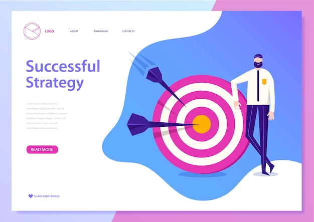 Conceito de estratégia de negócios de sucesso. página da web, pôster, folheto. homem de pé perto do alvo com flechas. ilustração de realização de meta