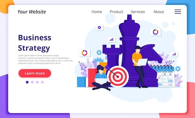 Conceito de estratégia de negócios, pessoas com elementos de marketing estão planejando uma estratégia de negócios. modelo de página de destino do site