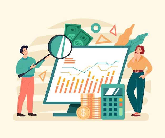 Conceito de estratégia financeira do trabalho em equipe de análise de finanças de negócios.