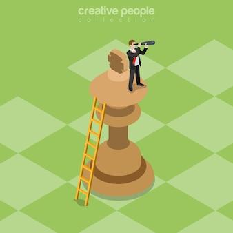 Conceito de estratégia isométrica plana de estratégia de negócios de sucesso negócios em cima da peça de xadrez do rei, olhando para o futuro da luneta.
