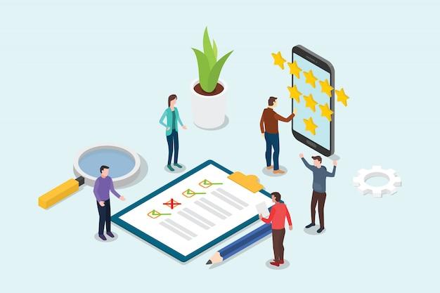 Conceito de estrela de avaliação de negócios 3d isométrica feedback