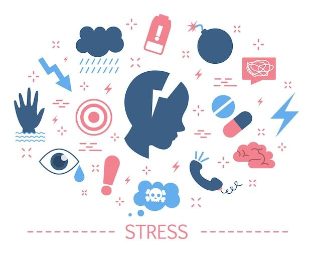 Conceito de estresse. depressão e medo, frustração emocional
