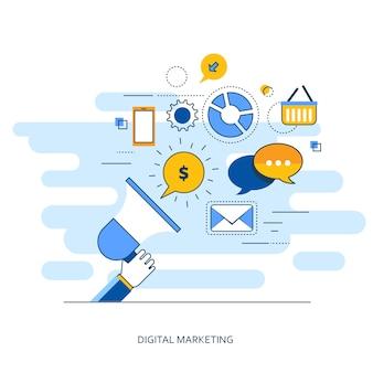 Conceito de estrutura de marketing digital