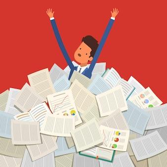 Conceito de estudar. aluno enterrado sob uma pilha de livros, livros didáticos e papéis. design plano, ilustração vetorial.