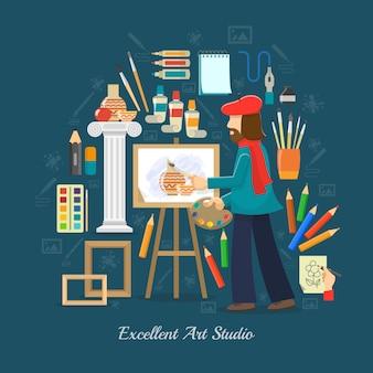 Conceito de estúdio de artista