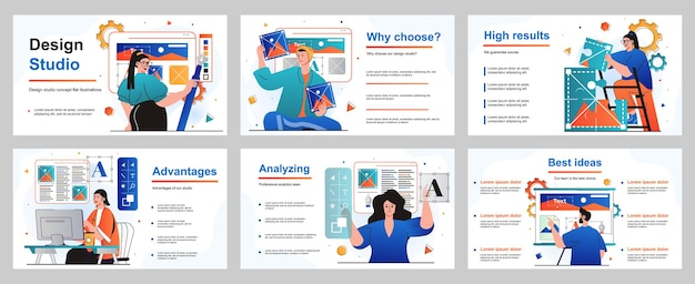 Conceito de estúdio de design para modelo de slide de apresentação ilustradores desenham imagens de elementos gráficos