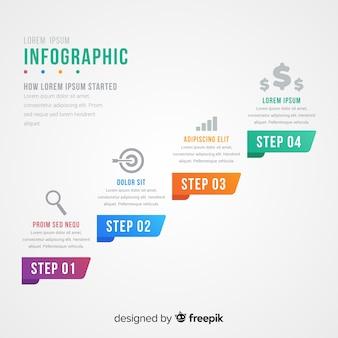 Conceito de etapas abstratas infográfico