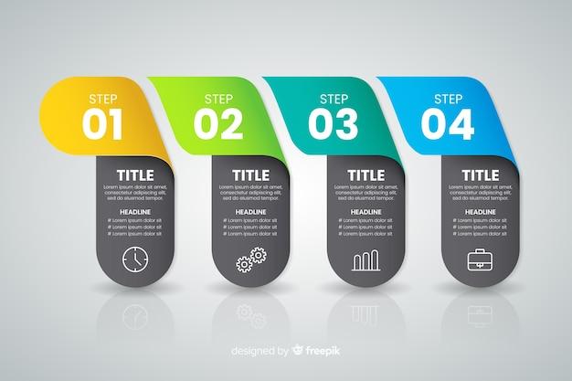 Conceito de etapas coloridas infográfico