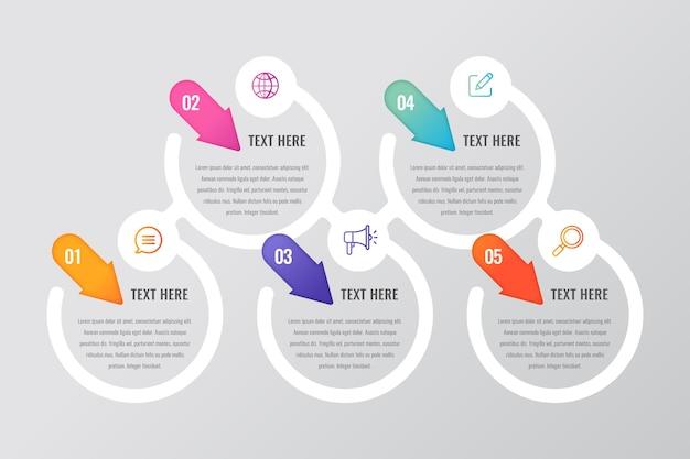 Conceito de etapas de infográfico design plano