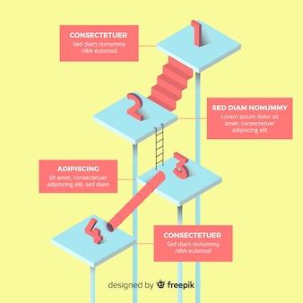 Conceito de etapas infográfico isométrica