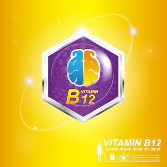 Conceito de etiqueta do logotipo de nutrição de vitamina b