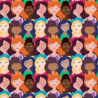 Conceito de evento do dia das mulheres com padrão de rostos de mulheres