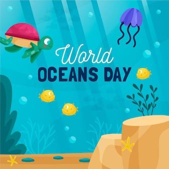 Conceito de evento do dia mundial dos oceanos