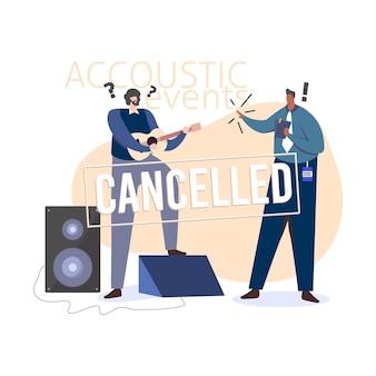 Conceito de eventos musicais cancelados