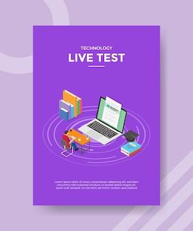 Conceito de exame ao vivo para modelo de folheto para impressão com estilo isométrico